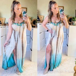 Boston Proper Boho Tie Dye Summer Maxi Dress XS